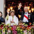 Célébrations du double 80e anniversaire du roi Harald V de Norvège et de la reine Sonja de Norvège le 9 mai 2017 au palais royal à Oslo. A gauche, le prince Sverre Magnus, à droite son père le prince héritier Haakon.