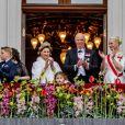 Célébrations du double 80e anniversaire du roi Harald V de Norvège et de la reine Sonja de Norvège le 9 mai 2017 au palais royal à Oslo, ici au balcon avec leurs petits-enfants le prince Sverre Magnus et la princesse Ingrid Alexandra, leur fils le prince Haakon et son épouse la princesse Mette-Marit ainsi que la reine Maxima des Pays-Bas.