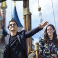 Kaya Scodelario, Orlando Bloom, Javier Bardem lors de l'avant-première du film Pirates des Caraïbes 5 au parc Disneyland Paris, le 14 mai 2017.