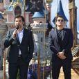 Johnny Depp, Javier Bardem et Orlando Bloom lors de l'avant-première du film Pirates des Caraïbes 5 au parc Disneyland Paris, le 14 mai 2017.