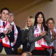 Louis Ducruet et sa compagne Marie lors de la rencontre de Ligue 1 Monaco - Lille au stade Louis II de Monaco le 14 mai 2017. © Bruno Bebert / Bestimage