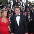 """Christian Estrosi et sa femme Laura Tenoudji (enceinte) - Montée des marches du film """"Les Fantômes d'Ismaël"""" lors de la cérémonie d'ouverture du 70ème Festival International du Film de Cannes. Le 17 mai 2017 © Borde-Jacovides-Moreau / Bestimage"""