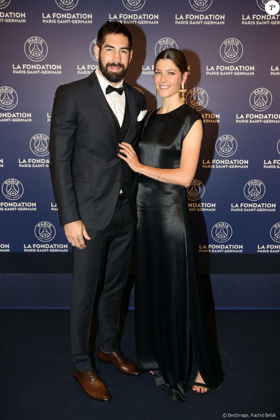 Exclusif  - Nikola Karabatic et sa femme Géraldine Pillet - Dîner de gala au profit de la Fondation PSG au Parc des Princes à Paris le 16 mai 2017.