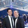 Exclusif - Le prince Nasser Al-Khelaïfi (président du PSG) et Arnaud Lagardère - Dîner de gala au profit de la Fondation PSG au Parc des Princes à Paris le 16 mai 2017.