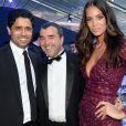Exclusif - Le prince Nasser Al-Khelaïfi (président du PSG), Arnaud Lagardère et sa femme Jade - Dîner de gala au profit de la Fondation PSG au Parc des Princes à Paris le 16 mai 2017.