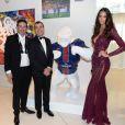 Exclusif  - Richard Orlinski, Arnaud Lagardère et sa femme Jade - Dîner de gala au profit de la Fondation PSG au Parc des Princes à Paris le 16 mai 2017.