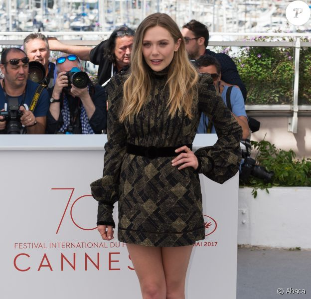 "Elizabeth Olsen (robe Marc Jacobs) - Photocall du fim ""Wind River"" lors du 70ème Festival International du Film de Cannes, France, le 20 mai 2017."