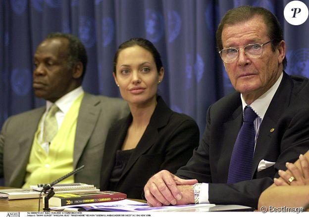 Danny Glover, Angelina Jolie et Roger Moore - Réunion des ambassadeurs de bonne volonté de l'Unicef à New York en 2002