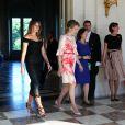 Melania Trump (Etats-Unis), la reine Mathilde de Belgique, Ingrid Schulerud (Otan) au Château Royal de Laeken à Bruxelles, , le 25 mai 2017. © Sébastien Valiela/Bestimage