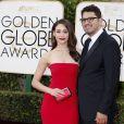 Emmy Rossum et son fiancé Sam Esmail - La 73ème cérémonie annuelle des Golden Globe Awards à Beverly Hills, le 10 janvier 2016.