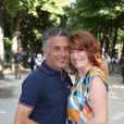 Gérard Holtz et sa femme Muriel Mayette-Holtz en juillet 2016 lors de la dernière étape du Tour de France, baroud d'honneur du journaliste avant son départ à la retraite.
