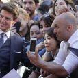 "Tom Cruise arrive au photocall de ""La Momie"" à Madrid le 29 mai 2017."