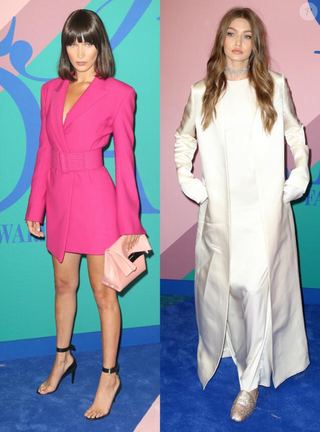 Les soeurs Hadid, mannequins stars de la cérémonie des CFDA Fashion Awards 2017 au Hammerstein Ballroom. New York, le 5 juin 2017.