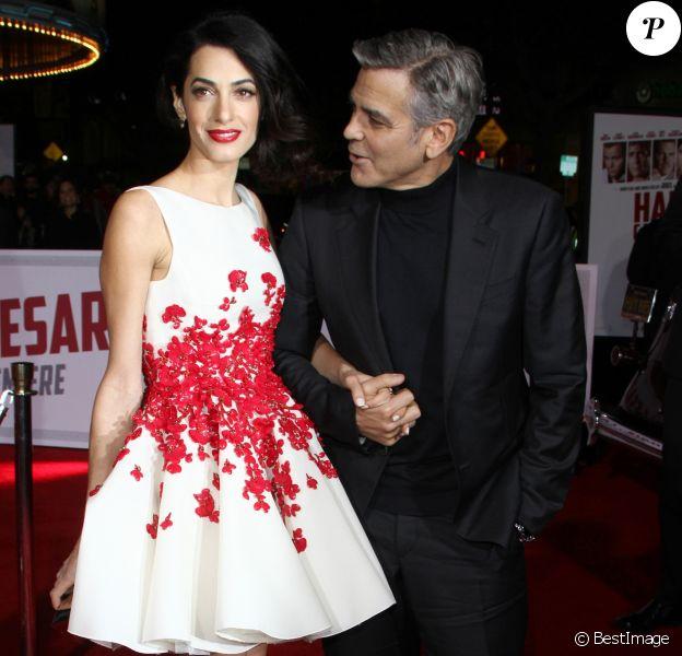 George Clooney et sa femme Amal Alamuddin - Première du film «Hail, Caesar!» au Regency Village Theatre à Westwood. Le 1er février 2016