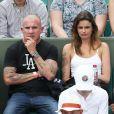 Exclusif - Dominic Purcell et son amie Los van Delft dans les tribunes des internationaux de tennis de Roland Garros à Paris, le 2 juin 2017. © Dominique Jacovides-Cyril Moreau/Bestimage