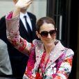 Celine Dion quitte l'hôtel Royal Monceau à Paris le 14 juin 2017. Elle va s'envoler pour le Danemark.