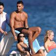 Kourtney Kardashian et son compagnon Younes Bendjima en vacances à Saint-Tropez avec des amis le 3 juillet 2017.