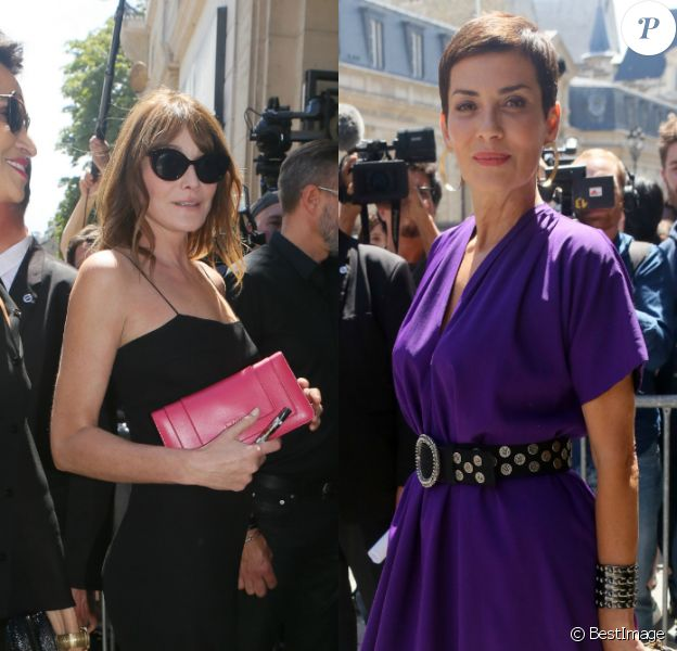 Carla Bruni et Cristina Cordula ont assisté au défilé Jean Paul Gaultier (collection Haute Couture automne-hiver 2017-2018) à Paris. Le 5 juillet 2017.