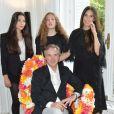 Semi-exclusif - Olivier Lapidus avec sa femme Yara et ses filles Milla et Koukla à la conférence de presse pour le lancement de sa E-Couture Collection à Paris, le 1er juillet 2017. © Giancarlo Gorassini/Bestimage