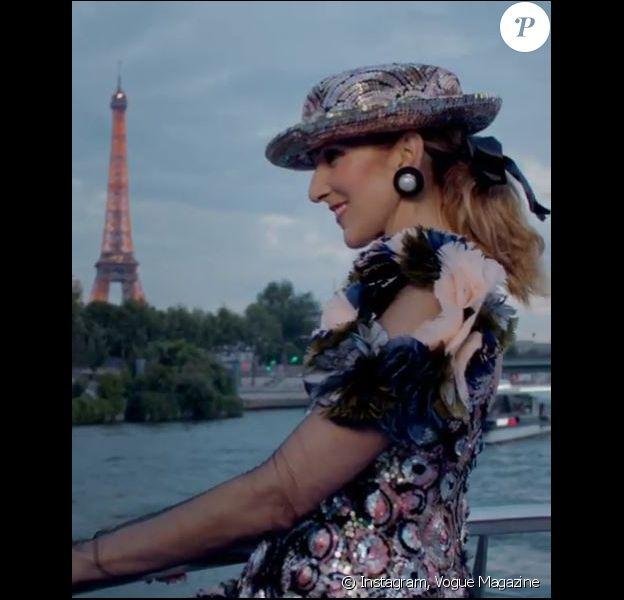 Capture d'écran de la vidéo du shooting de Céline Dion pour Vogue. Instagram, juillet 2017
