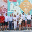 Le roi Felipe VI d'Espagne et d'autres anciens membres de l'équipe de voile espagnole aux JO de Barcelone 1992 ont été honorés lors d'un événement spécial à la 36e Copa del Rey, le 3 août 2017 à Palma de Majorque.