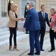 Le président Emmanuel Macron et son épouse Brigitte Macron reçoivent le premier ministre d'Australie, Malcolm Turnbull et sa femme Lucy Turnbull, au Palais de l'Elysée. Paris, le 8 juillet 2017. © Giancarlo Gorassini/Bestimage