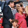"""Christian Estrosi (maire de Nice) et sa femme Laura Tenoudji, enceinte, lors du match de qualification de la Champions League """"OGC Nice - Ajax d'Amsterdam"""" au stade de l'Allianz Riviera à Nice, le 26 juillet 2017. © Bruno Bebert/Bestimage"""