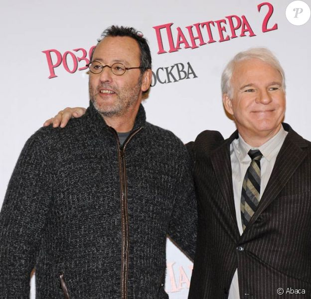 Steve Martin et Jean Reno à l'avant-première de La panthère rose 2, à Moscou. 09/02/09