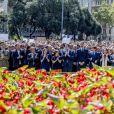Le roi Felipe VI d'Espagne, Mariano Rajoy (président du gouvernement d'Espagne), Carles Puigdemont (président de la Généralité de Catalogne) et Ada Colau (maire de Barcelone) lors de la minute de silence à Barcelone en hommage aux victimes de l'attaque terroriste de La Rambla. Le 18 août 2017.