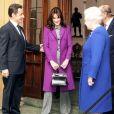 Nicolas Sarkozy et sa femme Carla Bruni-Sarkozy avec Elizabeth II et le duc d'Edimbourg au château de Windsor à Londres, le 27 mars 2008.