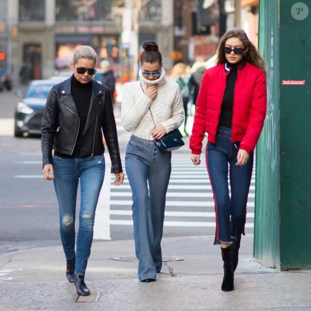 Gigi, Bella Hadid et leur maman Yolanda Hadid à New York, le 29 janvier 2017.