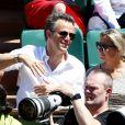 Anne-Sophie Lapix et son mari Arthur Sadoun - Personnalités dans les tribunes lors des internationaux de France de Roland Garros à Paris. Le 10 juin 2017. © Jacovides - Moreau / Bestimage