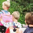 Les quatre enfants d'Elodie Gossuin et Bertrand Lacherie, Rose, Jules, Joséphine et Léonard, le jour de la rentrée. Instagram, le 4 septembre 2017.