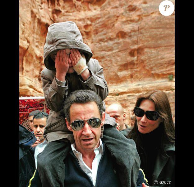 Nicolas Sarkozy, Carla Bruni et Aurélien en Jordanie