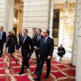 Brigitte Macron, Nicolas Sarkozy et Francois Hollande et Emmanuel Macron, président de la République, lors de la réception des acteurs de la candidature de Paris aux Jeux Olympiques et Paralympiques de 2024 au palais de l'Elysée à Paris le 15 septembre 2017. © Hamilton / Pool / Bestimage