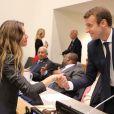"""""""Le président de la République française Emmanuel Macron et Gisele Bündchen pendant une réunion de travail sur le pacte mondial pour l'environnement lors de la 72ème assemblée générale de l'organisation des Nations-Unis (ONU) à New York, le 20 septembre 2017. © Ludovic Marin/Pool/Bestimage"""""""
