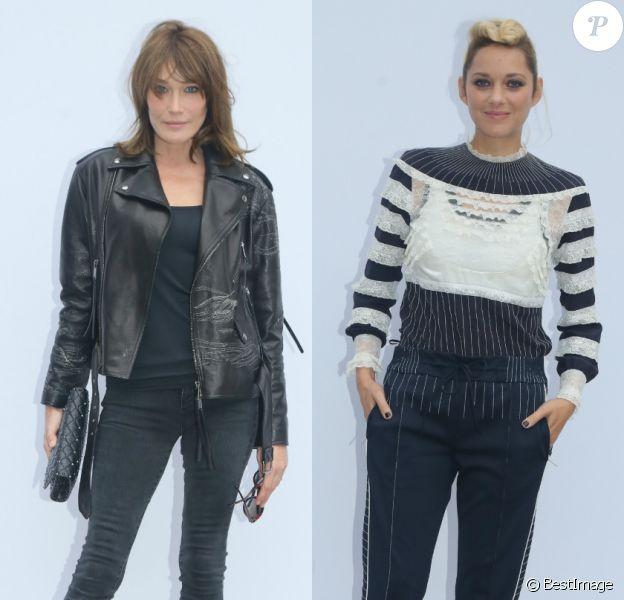 Carla Bruni et Marion Cotillard - Défilé de mode Valentino collection prêt-à-porter Printemps/Eté 2018 lors de la Fashion Week de Paris, le 1er octobre 2017.