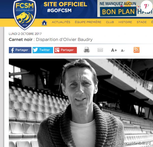 Le site du FC Sochaux-Montbéliard a rendu hommage à Olivier Baudry, ancien capitaine du club franc-comtois, mort à 44 ans le 1er octobre 2017 des suites d'un cancer.