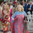 Paola Marzotto et la comtesse Marta Marzotto, mère et grand-mère de Beatrice Borromeo, le 31 juillet 2015 avant le mariage religieux de Beatrice et de Pierre Casiraghi.