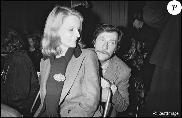 """ARCHIVES - NICOLE GARCIA ET JEAN ROCHEFORT A LA SOIREE """"NINA RICCI"""" A PARIS 28/01/1980 -"""