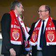 Dmitri Rybolovlev et le prince Albert II de Monaco le 17 mai 2017 au stade Louis II à Monaco lors du match de Ligue 1 ASM - AS Saint-Etienne. © Bruno Bebert/Bestimage