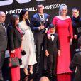 Cristiano Ronaldo avec Georgina Rodriguez, son fils Cristiano Ronaldo Jr, sa maman Maria Dolores et sa soeur Katia Aveiro - The Best FIFA Football Awards 2017 au London Palladium à Londres, le 23 octobre 2017.