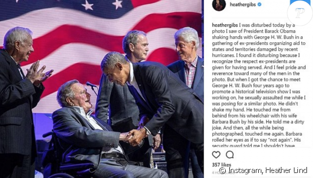 Accusé d'attouchement par une actrice, George Bush présente ses excuses