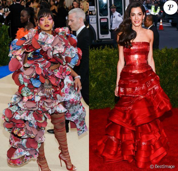 Rihanna et Amal Clooney (photographiées aux Met Galas 2017 et 2015) co-animeront le Met Gala 2018.