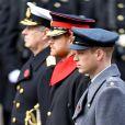 """""""Le prince Harry, bien barbu entre le prince William et le prince Andrew, rasés de frais, au Cénotaphe de Whitehall à Londres le 12 novembre 2017 pour les commémorations du Dimanche du Souvenir."""""""