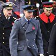 """""""Le prince William, le prince Harry et le prince Andrew au Cénotaphe de Whitehall à Londres le 12 novembre 2017 pour les commémorations du Dimanche du Souvenir."""""""
