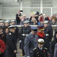 """"""" La princesse Anne, le duc de Kent, le prince William, le prince Harry et le prince Andrew Le prince William, le prince Harry et le prince Andrew au Cénotaphe de Whitehall à Londres le 12 novembre 2017 pour les commémorations du Dimanche du Souvenir. """""""