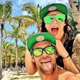 Emilie Nef Naf et son nouveau chéri Bruno Cerella à Playa del Carmen au Mexique, juillet 2016.