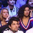 Julia Lang ( compagne de Pierre-Hugues Herbert), Noura El Shwekh (compagne de Jo-Wilfried Tsonga ) - 1er match de la Finale de la coupe Davis opposant la France à la Belgique remporté par Goffin (7-5, 6-3, 6-1) au Stade Pierre Mauroy à Lille , le 24 novembre 2017. © Perusseau - Ramsamy / Bestimage