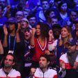 La chérie de Jo-Wilfried Tsonga Noura El Shwekh, celle de Lucas Pouille, Clémence Bertrand et Oxana Pioline lors de la finale de la Coupe Davis, France vs Belgique, au stade Pierre Mauroy de Villeneuve-d'Ascq, le 27 novembre 2017.
